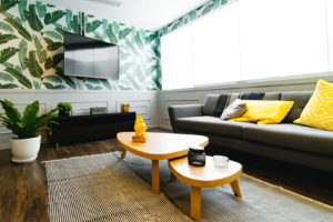 Image of an apartment interior with yellow and green accents