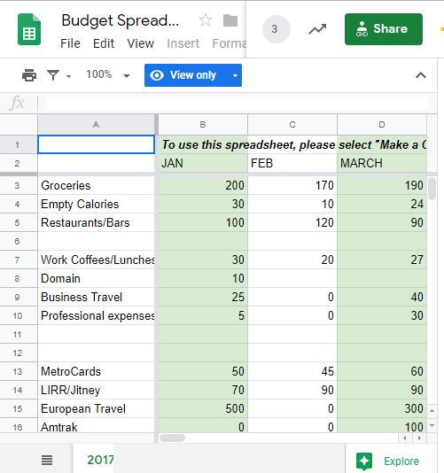 Excel spreadsheet for budgeting to keep track of expeses and cash flow.